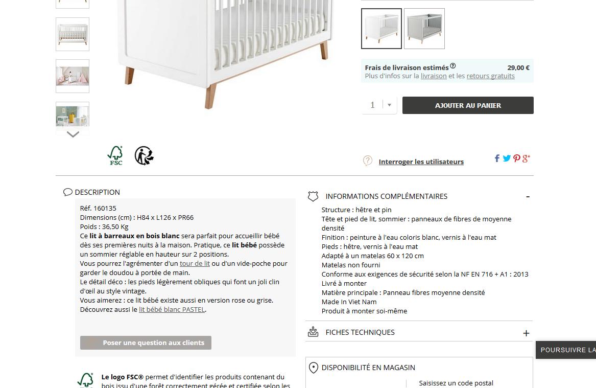 matériaux chambre de bébé